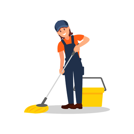 Smiling woman mopping floor. Young girl overall, cap and t-shirt. Flat vector element for advertising of cleaning company  イラスト・ベクター素材