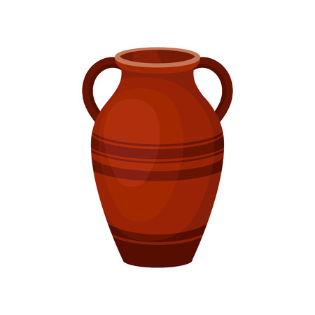 Flat Vector Icon Of Tall Ceramic Jug For Wine Old Brown Vase