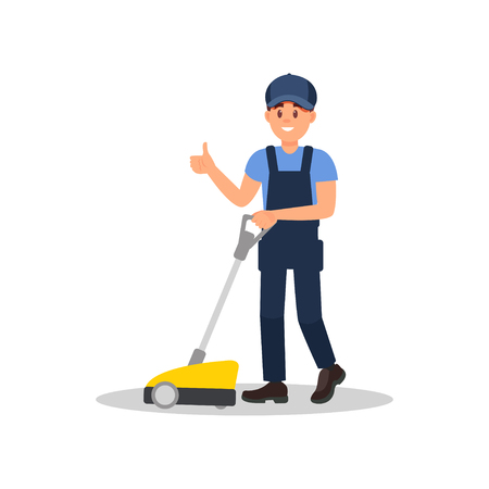 Smiling man cleaning floor with scrubber machine and showing thumb up. Young guy in working uniform. Flat vector design 写真素材