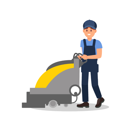 Smiling guy working with vacuum scrubber. Man in blue overall, cap and t-shirt. Flat vector for advertising banner of cleaning service 写真素材