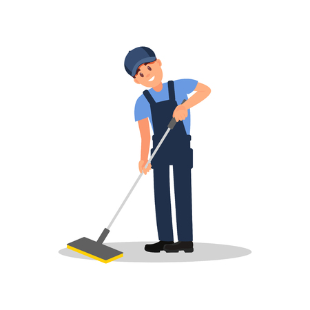 Young man cleaning floor using plastic mop. Smiling guy in overall, cap and t-shirt. Flat vector element for promo poster or banner