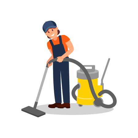Woman cleaning floor with professional vacuum cleaner. Young cheerful girl in working uniform. Flat vector element for advertising poster