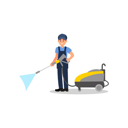 Young man posing with jet cleaning machine. Professional cleaner at work. Smiling guy in working uniform. Flat vector design 写真素材