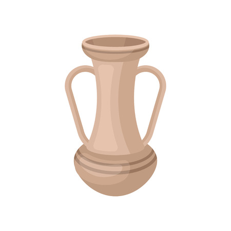 Tall beige jug with two handles. Antique clay vase. Old ceramic vessel for liquids. Flat vector for souvenir or home decor store