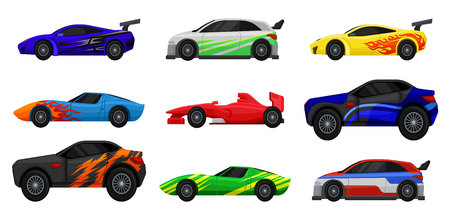 Flat vector set of various racing cars. Fast sports automobiles. Side view. Elements for advertising poster, mobile or computer game