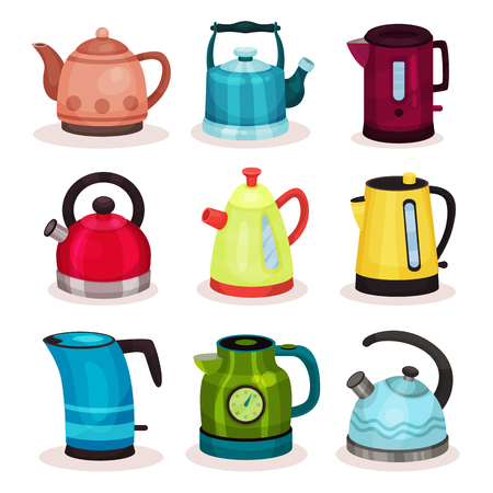 Flat vector set of tea kettles. Kitchen utensils. Home appliance for boiling water. Elements for advertising of household goods store