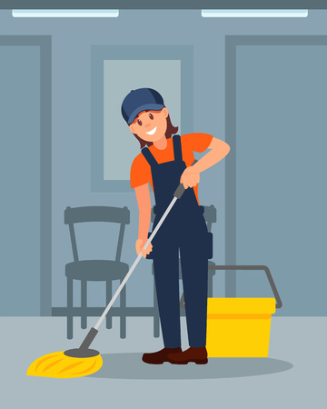 Cheerful woman cleaning floor in corridor. Young girl working uniform. Colorful flat vector illustration