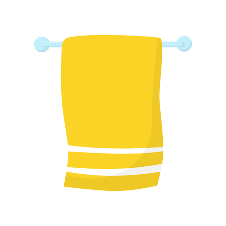 Bright yellow towel with white stripes hanging on blue horizontal wall-mount holder. Flat vector icon of bathroom accessory Фото со стока - 103279337