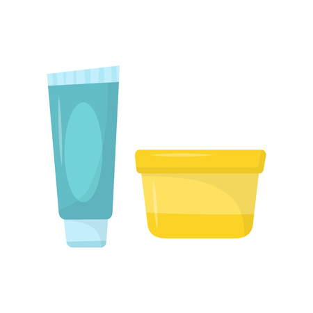 Blue tube of toothpaste and small yellow jar of cream. Skin care cosmetics. Personal hygiene. Flat vector icons.