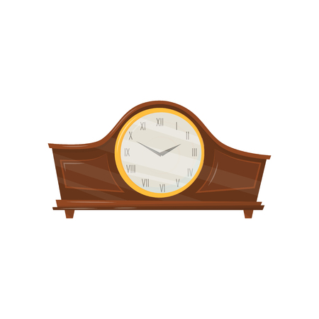 Vintage wooden clock with roman numerals and golden trim. Interior home decor. Flat vector element for flyer of souvenir or antiques shop