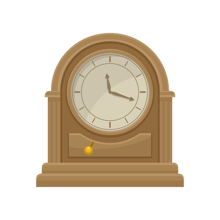 Icon of antique wooden table clock with golden pendulum. Home decor item. Flat vecror for promo poster of antiques or souvenir shop Stockfoto - 103279400