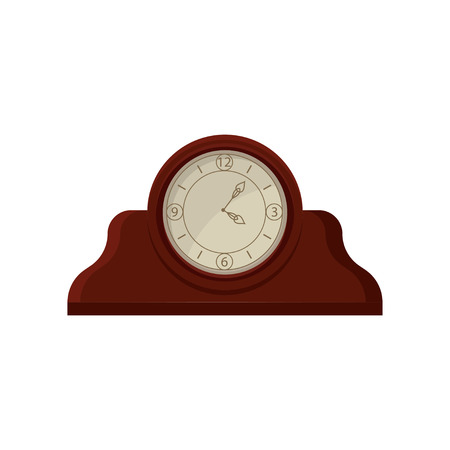 Vintage wooden table desk clock with round dial. Flat vector element for advertising poster of souvenir or antiques shop Stock Illustratie