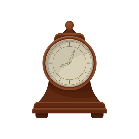 Flat vector icon of retro wooden desk clock with round dial. Interior decor element. Design for banner or poster of antiques shop