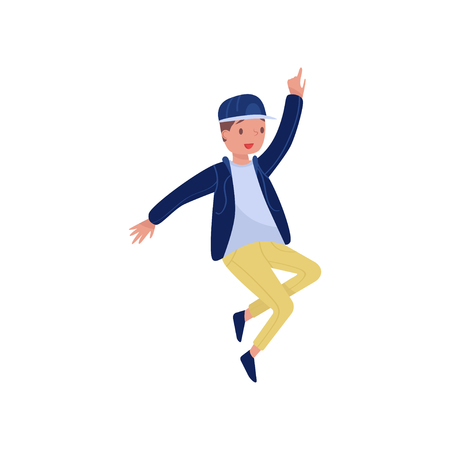 Hip-hop dancer in action. Teenager boy with happy face. Party time. Flat vector element for promo poster of dance school