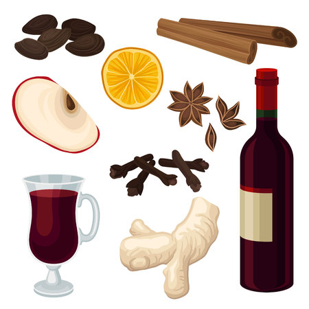 Flat vector set of ingredients for mulled wine. Bottle and glass of red wine, aromatic spices, slice of orange and apple
