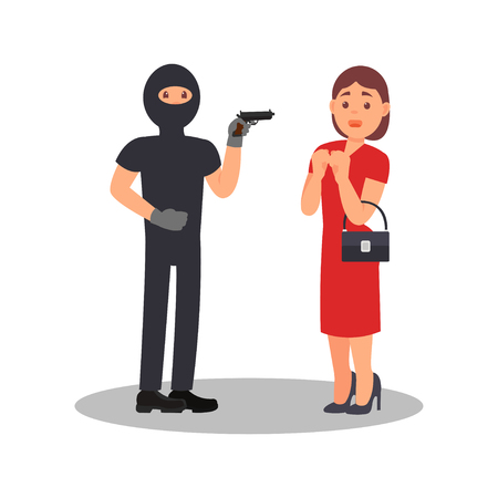 Man with gun robbing young woman. Robber in black clothes and mask. Street robbery. Female in stress situation. Flat vector design Illustration