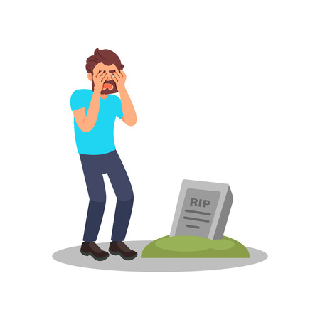 Man standing near tombstone and crying. Grieving guy visiting grave of family member. Isolated flat vector design