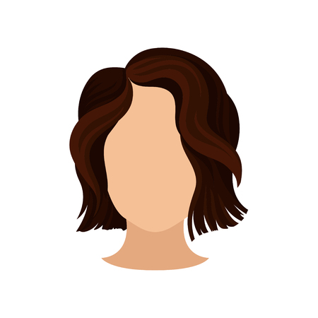 Stylish women s haircut. Female head with short wavy brown hair. Trendy haircut. Flat vector element for poster of beauty salon