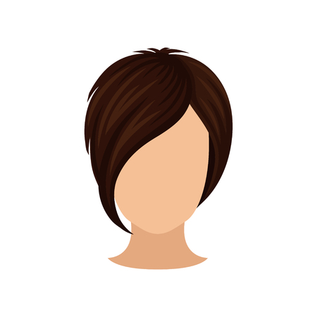 Women s head with short hairstyle, long bang. Dark brown hair. Stylish female haircut. Flat vector element for poster of hairdressing salon