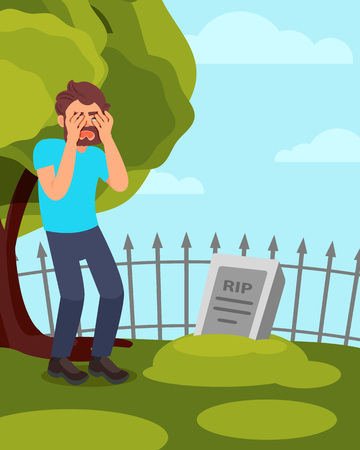 Man standing near tombstone and crying. Grieving guy visiting grave. Green tree, fence and blue sty on background. Flat vector