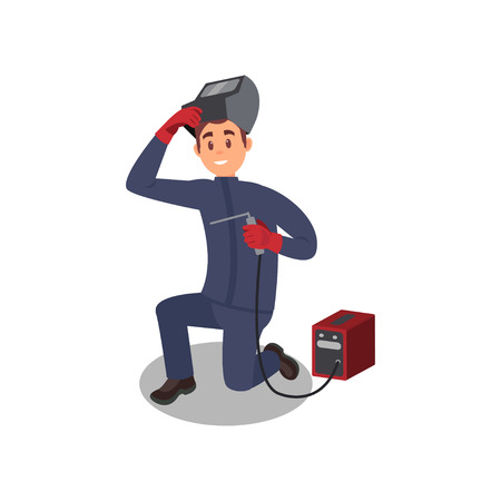 Smiling guy working with welding machine. Young man in protective equipment. Professional at work. Flat vector design