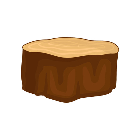 Flat vector icon of brown dry tree stump with annual growth rings. Natural material. Forest element Illustration