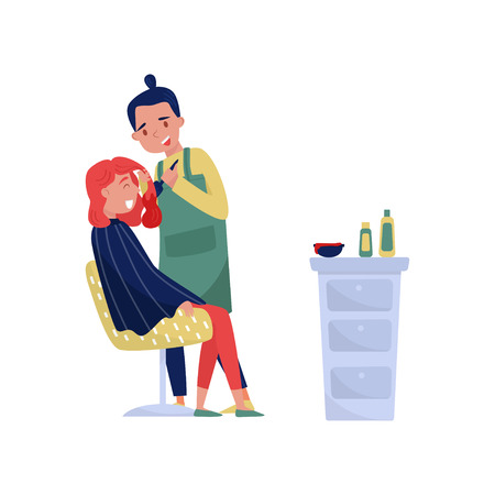Male hairdresser dying hair of woman at beauty saloon vector Illustration on a white background