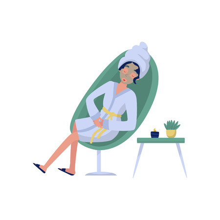 Beautiful woman in a cosmetic mask, relaxation, skincare, wellness at beauty salon vector Illustration on a white background Illustration