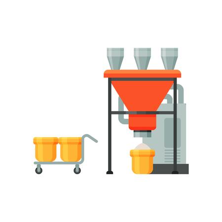 Équipement industriel de broyage de la farine, étape du processus de production de pain sur fond blanc Vecteurs