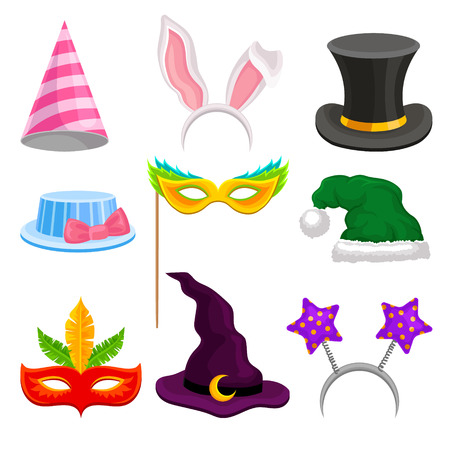 Party and masquerade head decor set, hat, mask, ears for holiday celebration vector Illustrations on a white background Illustration