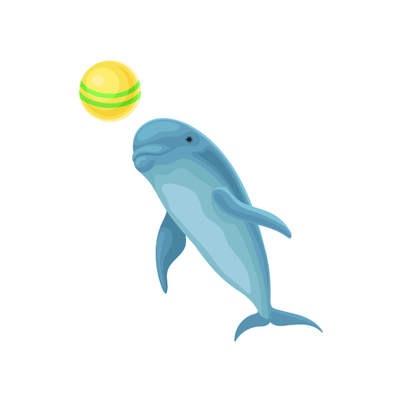 Blue dolphin performing trick with ball for entertainment show vector Illustration on a white background
