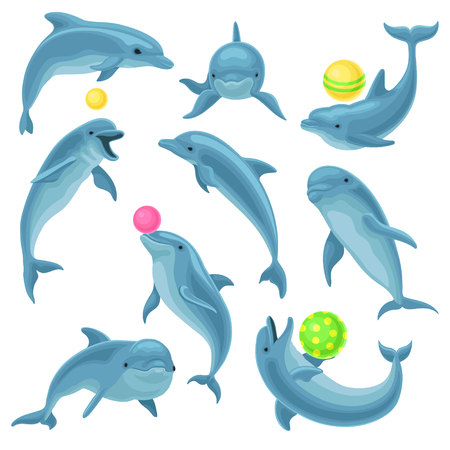 Cute blue dolphins set, dolphin jumping and performings tricks with ball for entertainment show vector Illustration on a white background Иллюстрация