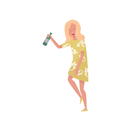 Smiling drunk young woman cartoon character, girl with bottle of wine icon isolated on white Illustration