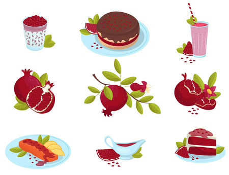 Ripe pomegranate, fresh fruit food desserts and sauces set, delicious garnet dishes vector Illustrations on a white background