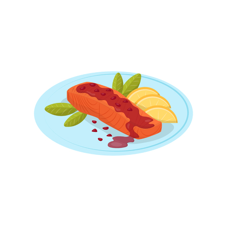 Salmon fish with pomegranate sauce on a plate vector Illustration on a white background