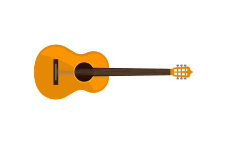 Acoustic guitar, classical musical instrument vector Illustration on a white background