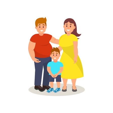 Happy father, mother and son standing together vector Illustration on a white background