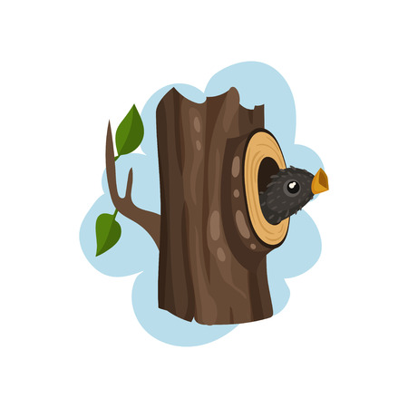 Nestling sitting in hollow tree, hollowed out old tree and cute bird inside vector Illustration on a white background 向量圖像