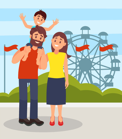 Smiling parents standing together, little son sitting on fathers shoulders, family posing on the background of ferris wheel in amusement park vector Illustration in flat style