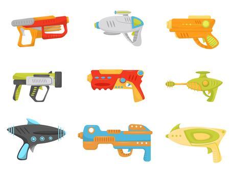 Spielzeugpistolen-Set, Waffenpistolen und Blaster für Kinderspielvektorillustration auf einem weißen Hintergrund