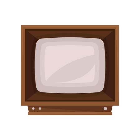 Retro TV in the wooden case vector Illustration isolated on a white background.