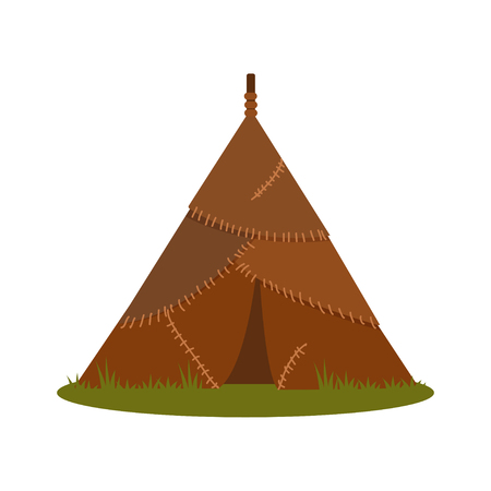 Prehistoric house made of animal skins, element of Stone Age vector Illustration isolated on a white background.