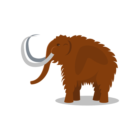 Mammoth, extinct animal of Stone Age vector Illustration on a white background
