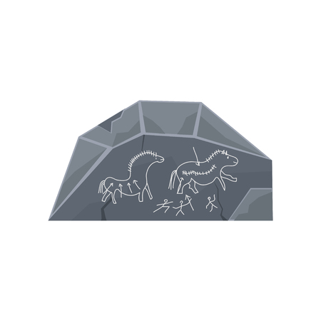 Prehistoric rock engravings, Stone Age symbol vector Illustration isolated on a white background.