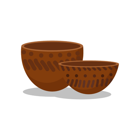 Prehistoric clay bowls, Stone age symbols vector Illustration isolated on a white background.
