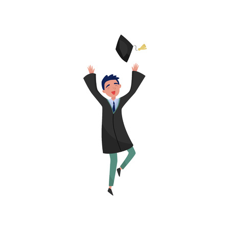 Happy male graduate, smiling graduation boy student in gown throwing graduation cap vector Illustrations isolated on a white background. Ilustrace
