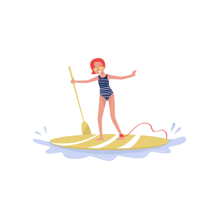 Young woman standing on paddle board, paddleboarding water sport cartoon vector Illustration isolated on a white background.