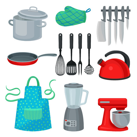 Collection of kitchenware, modern electric appliance and protective garment. Cooking utensils. Kitchen theme. Cartoon style icons. Isolated flat vector elements for promo poster of household store.