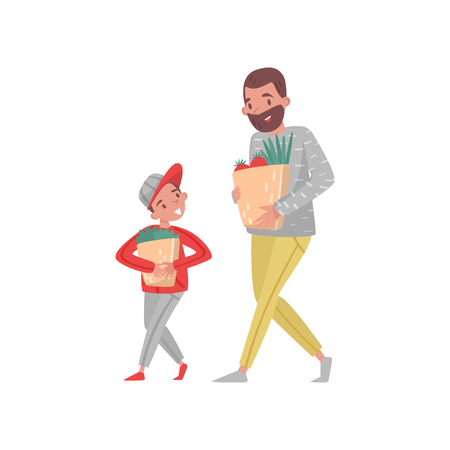 Father and son with shopping bags. Bearded man and little boy carrying paper bags with groceries. Flat vector illustration