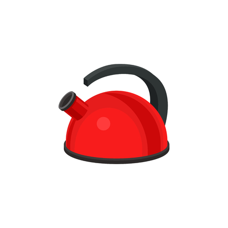 Cartoon illustration of metal red kettle with black plastic handle. Kitchen utensil. Colorful graphic element for promo poster or banner of household store. Flat vector isolated on white background.